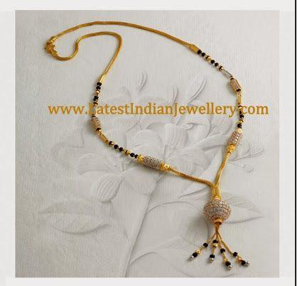 Diamond Black Beads Necklace