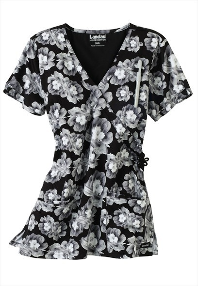 Landau Uniforms Winter Garden print scrub top.