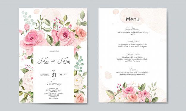 modele de carte d invitation Modèle De Carte D'invitation De Mariage Sertie De Belles Feuilles