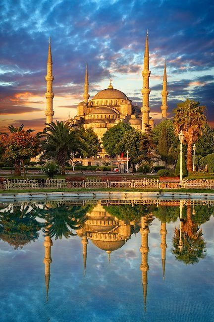 Sunset over the Sultan Ahmed Mosque - Istanbul