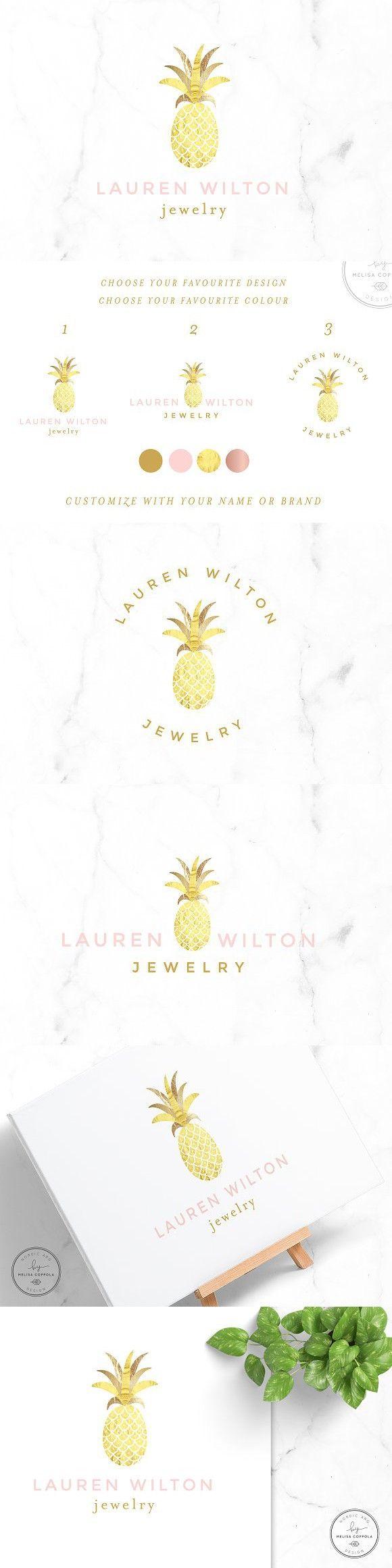 Luxury Pineapple Gold Logo. Wedding Card Templates