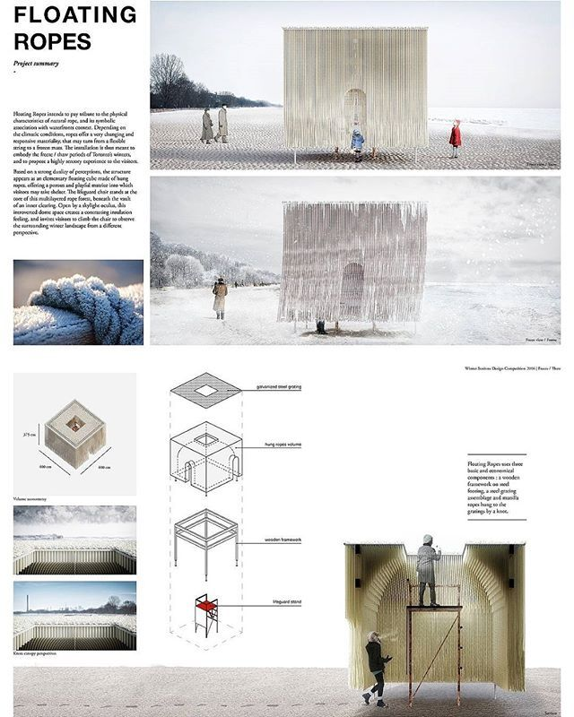 We are thrilled to announce the winners of this year's #winterstations #designcompetition - In no particular order - #floatingropes by MUDO (Elodie Doukhan and Nicolas Mussche) of #montreal #quebec #canada.  #architecture #art #design #publicart #winterscape #warminghuts #winter #snow #ice #landscape #landscapearchitecture #interiordesign #rendering #winterart #artintervention #kewbeach #balmybeach #ashbridges #toronto #ontario #mudo #architecturecompetition
