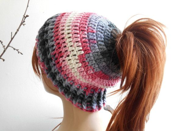 Woman Knitted Hat Messy Bun Hats Knitted Bun Hat by MimosaKnitting