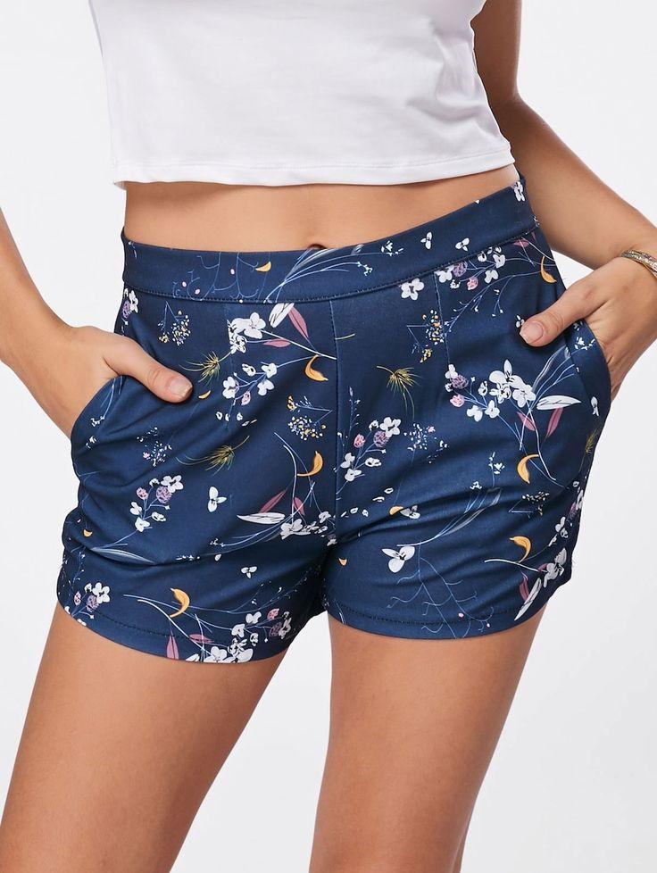 Casual Floral Print Mini Shorts - BLUE XL