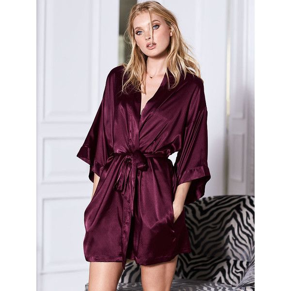 Victoria's Secret Satin Kimono Robe ($50) ❤ liked on Polyvore featuring intimates, robes, black, short robe, bath robes, kimono dressing gown, satin dressing gown and victoria secret bathrobe