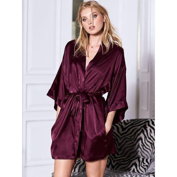 Victoria's Secret Satin Kimono Robe ($50) ❤ liked on Polyvore featuring intimates, robes, black, short robe, bath robes, kimono dressing gown, satin dressing gown and victoria secret bathrobe