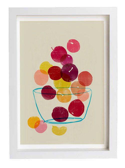 Kitchen Art  - Plums - Summer Fruit Art  / high quality fine art print. $45.00, via Etsy.