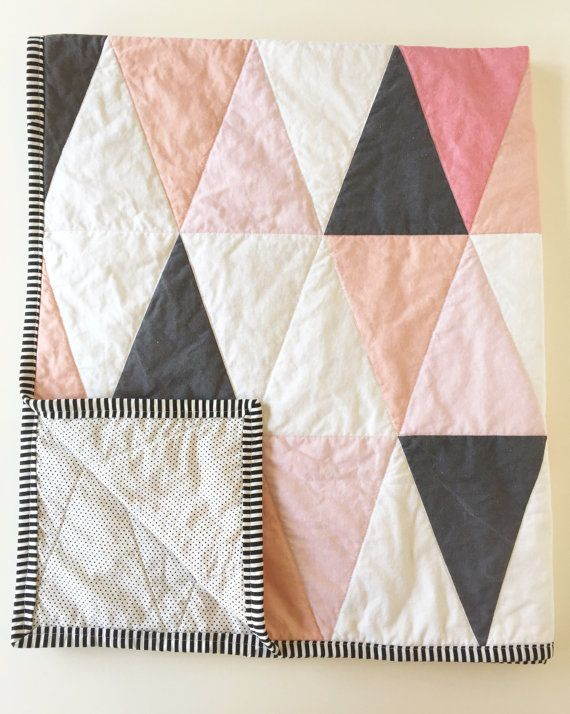 Blush pink peach coral modern baby quilt | ombre blanket | switch out the pinks for a boy!