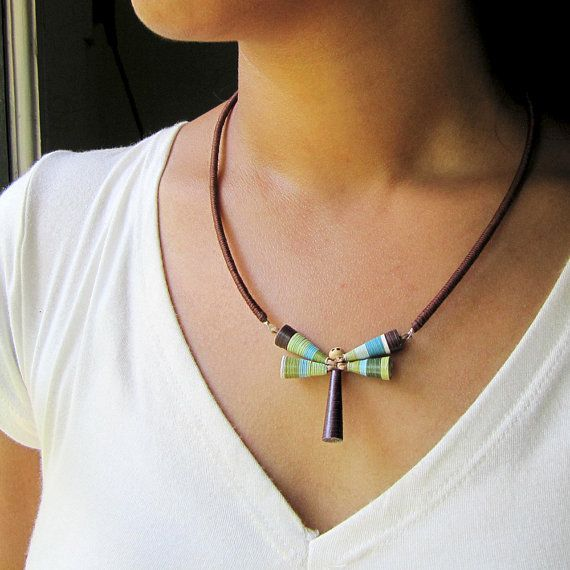 Dragonfly necklace with paper beads.