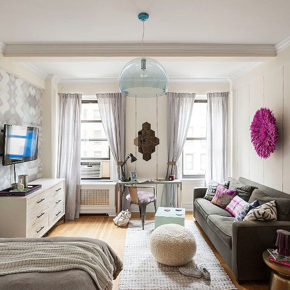How to Live Stylishly in a Studio Apartment - Love the colors and set up of this apartment
