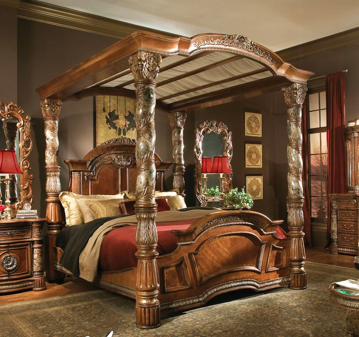 King Size Canopy Bed Part - 29: Wood Carved Canopy