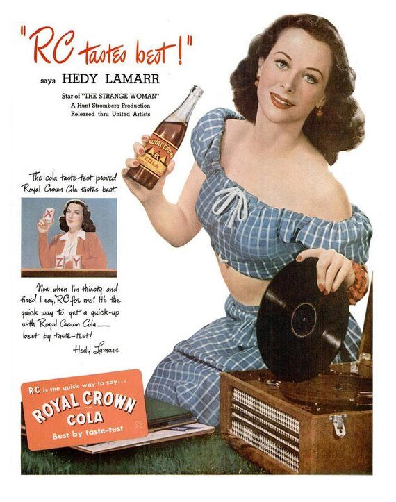 1946 Hedy Lamarr Royal Crown Cola Hollywood & Nabisco Ritz Crackers Ad Famous Actress Film Star Retro 40s Record Player Sock Hop Party Decor