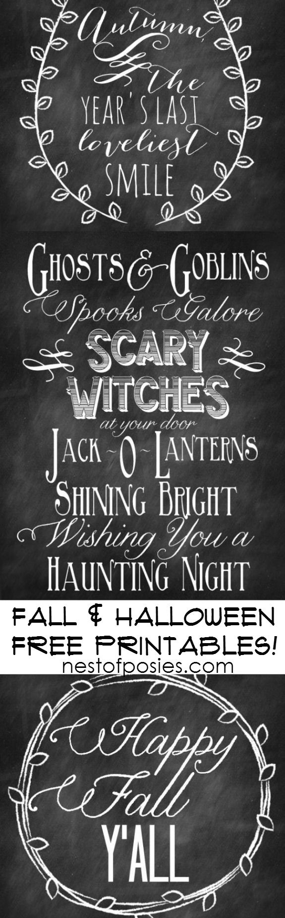 Chalkboard Fall and Halloween Free Printables. A beautiful collection for your home