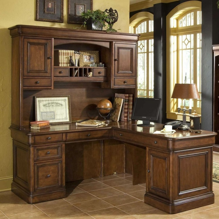 Amazon.com: Whalen Villa Tuscano L Shaped Desk with Hutch: Office Products