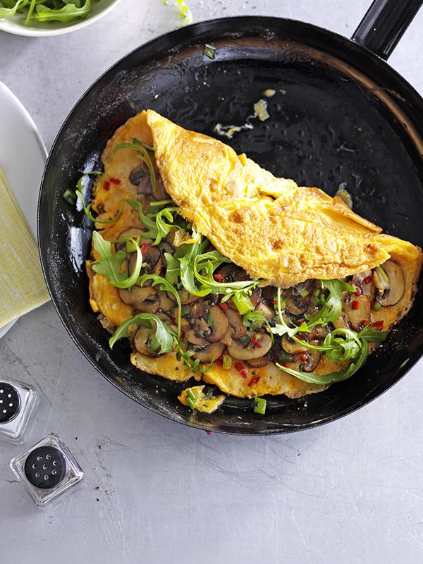This recipe for chilli, cheese and garlic mushroom omelette is easy, vegetarian and ready in under 30 minutes making it a perfect midweek meal for one