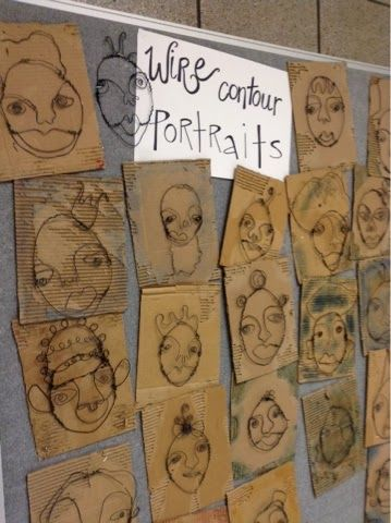 Art at Becker Middle School: Completed Wire Portraits - practice continuous line drawings first