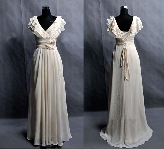 Custom Make Chiffon Wedding Dress Bridal Gown Bridesmaid Dress A LINE Floor Length Ruffles Cap Sleeves Flower Sash. $170.00, via Etsy.