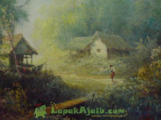 Lukisan Tua Alam Pedesaan Karya Original Basar