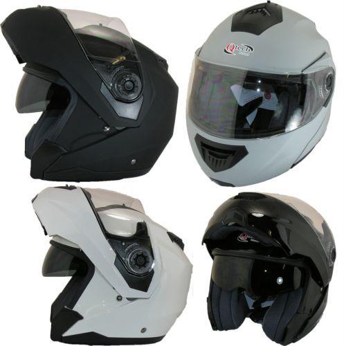 MOTORCYCLE-Modular-Flip-up-Front-Helmet-Dual-Visor-Motorbike-BLACK-White-SILVER  £39.95  01270 841877