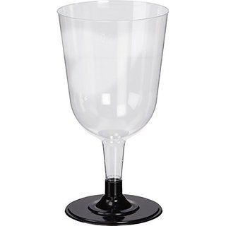 Disposable Wine Glasses Black 8.5oz / 240ml 24cl - Sleeve of 12   Plastic Wine Glasses, Party Wine Glasses