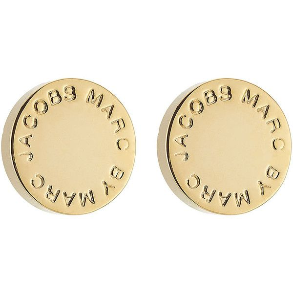 Marc by Marc Jacobs Logo Stud Earrings (£27) ❤ liked on Polyvore featuring jewelry, earrings, gold, marc by marc jacobs, gold tone jewelry, gold tone earrings, polish jewelry and stud earring set