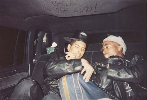 Shock G and Tupac chillin in the limo.
