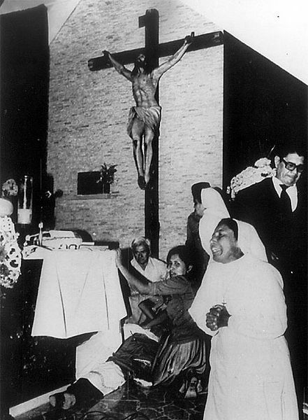 """During the Salvadoran civil war, death squads (known in Spanish by the name of Escuadrón de la Muerte, """"Squadron of Death"""") achieved notoriety when a sniper assassinated Archbishop Óscar Romero while he was saying Mass in March 1980."""