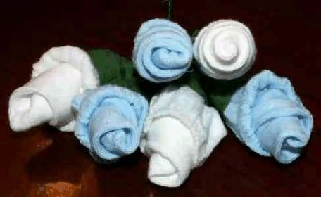 blue and white baby sock roses