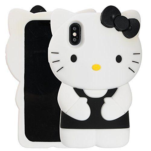 3252ccfdf iPhone X Case, Phenix-Color 3D Cute Cartoon Soft Silicone Hello Kitty Gel  Back