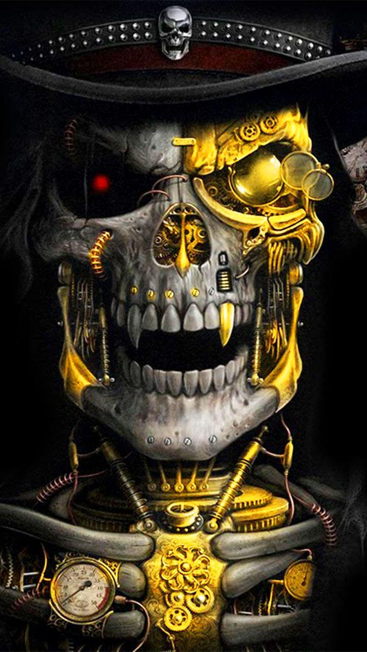 Luxury Golden Metal Skull Theme has the golden metallic