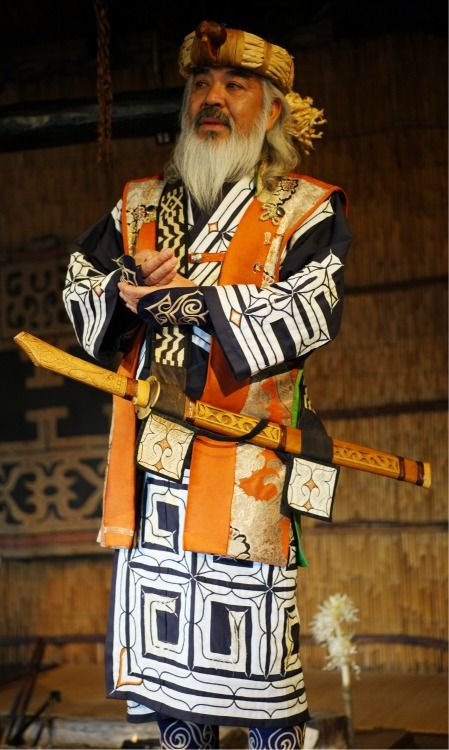 Ainu man. The only 'native Japanese' are the Caucasian-looking Ainu people, pushed to near-extinction to Japan's northernmost reaches.