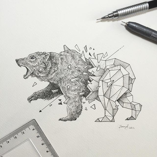 Geometric beasts grizzly illustrations dessin - Dessin de grizzly ...