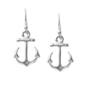 NauticalWheeler — Silver Anchor Earrings