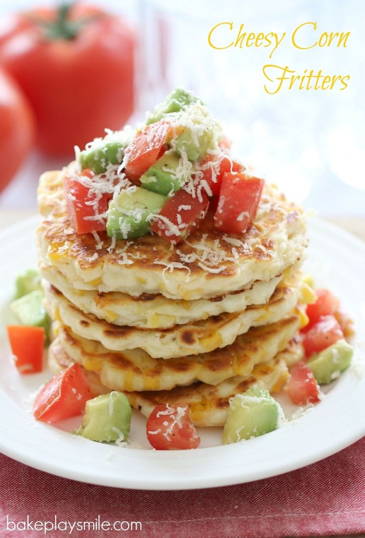 Cheesy Corn Fritters with Tomato