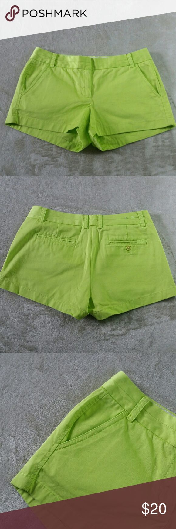 """Fluorescent green shorts fluorescent lime green chino shorts. Size 8, in like new condition worn one time. 100% cotton, full zip and button closure, two front pockets.   Measurements waist 17"""" laying straight across rise 11"""" inseam 3"""" leg opening 11"""" jcrew  Shorts"""