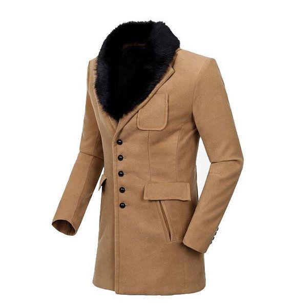 Luxury Winter Men Fur Collar Woolen Overcoat Men Winter By
