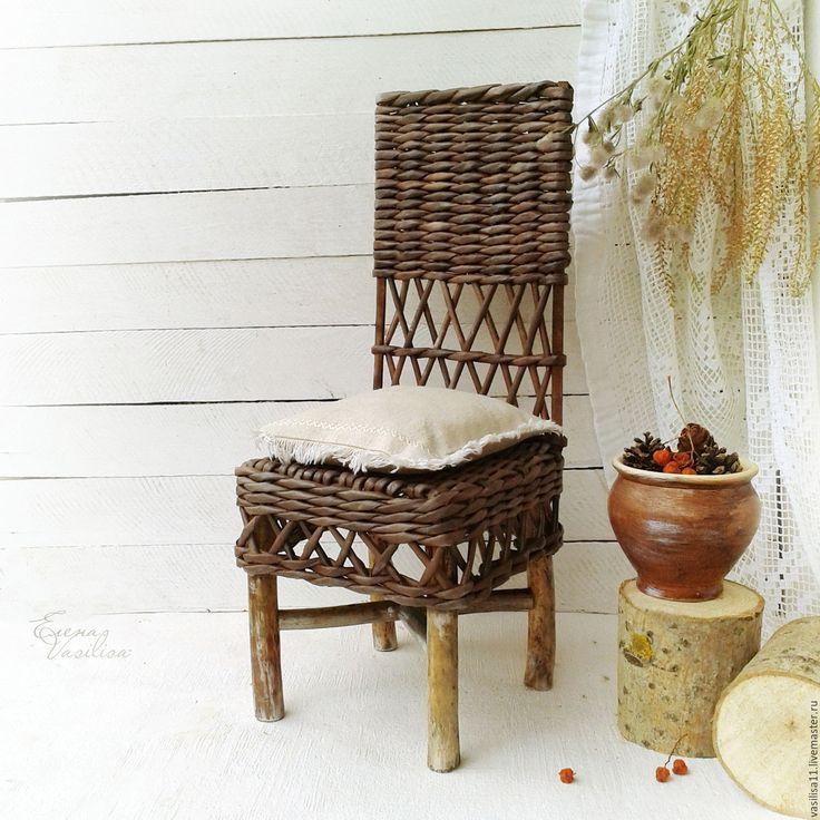 Купить Старый плетеный стульчик для куклы - кукольная мебель, стул плетеный, для куклы, для кукол и мишек