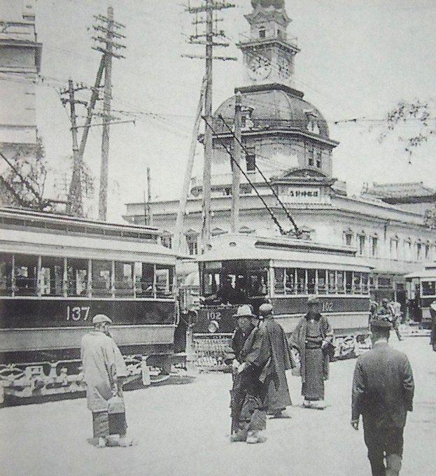 昭和スポット巡り on Twitter 明治45年 銀座4丁目 路面電車と服部時計店初代時計塔
