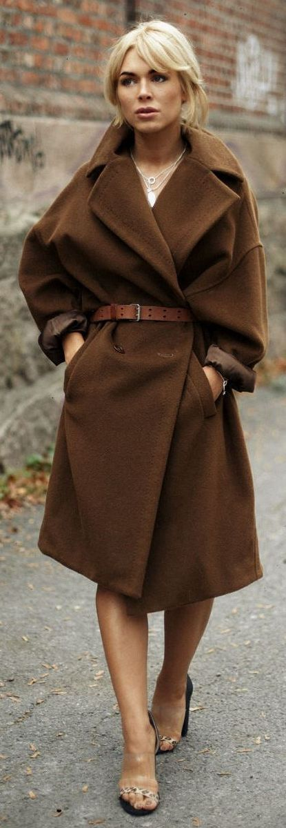 Dark camel oversize coat.
