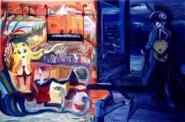 Venus & Mars, 2002, Elsa Dax.  oil on canvas  91 x 60 cm   Stuckism/Remodernism