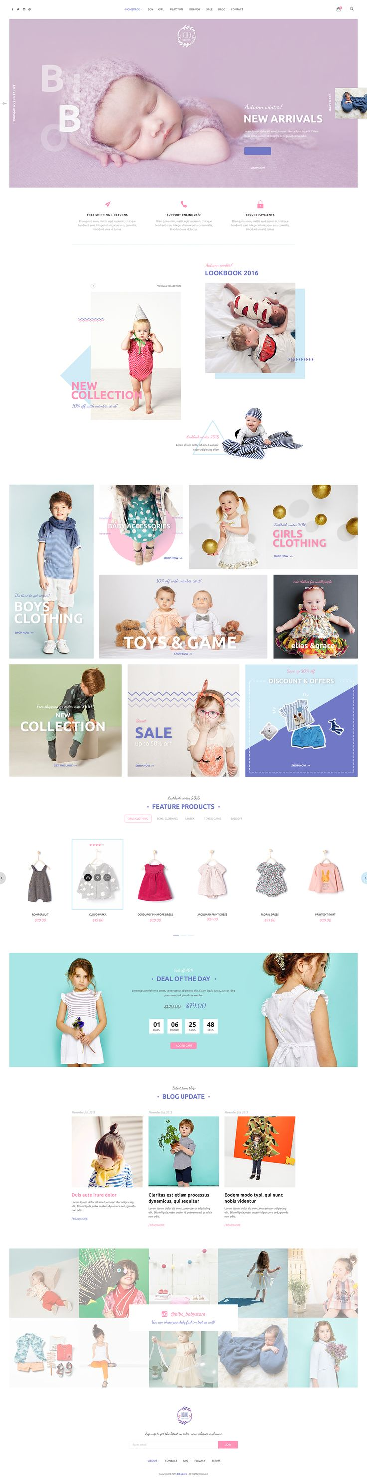 Bibo is PSD template that is crafted for baby store & other related niche site in the industry. The package includes 13 psd files with well-named as well as well-organized layers.