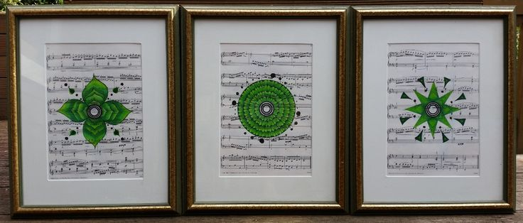 Three Green Mandalas on Sheet Music #mandalaonprint #artonsheetmusic #mandala #sheetmusic