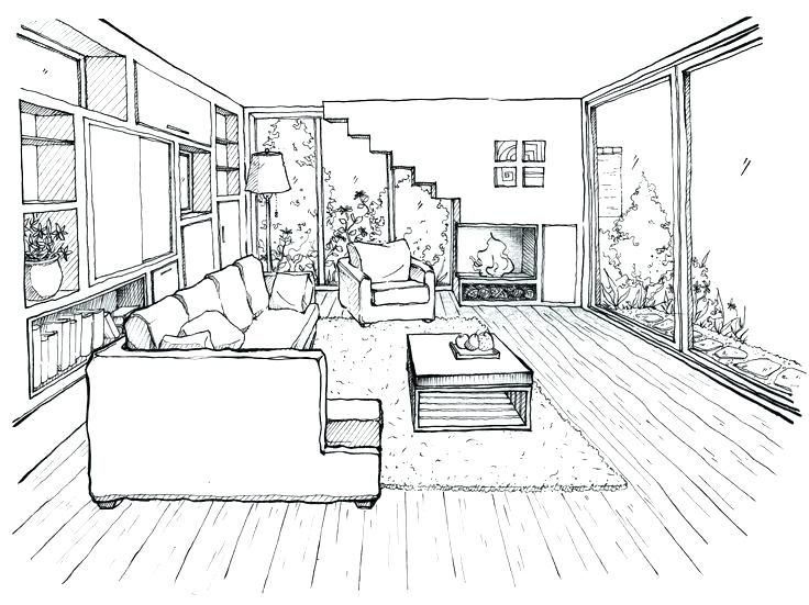Image Result For Living Room Line Drawing Room Perspective