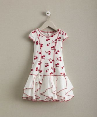Girls Cherry Ruffles Dress - Cherries dance on a dress that'll tickle her fancy. The stretchy bodice tapers to a skirt covered in red-trimmed panels. Machine Wash.