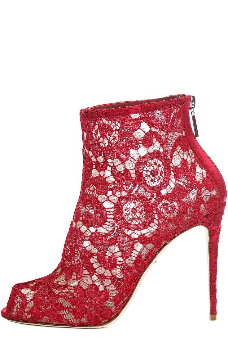 Dolce & Gabbana Кружевные ботильоны Bette с открытым мысом Красный 53 050 Р.