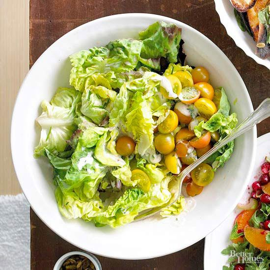 This tasty holiday salad takes just 20 minutes to make from start to finish; prep the dressing a few hours in advance and store in the fridge for an almost-instant side dish. /