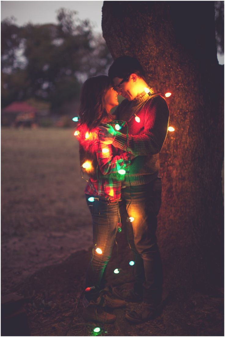 Cute idea for Christmas photos.  Maybe wrap the whole family??: Christmas Pictures, Engagement Photo, Christmas Cards Pictures, Photo Ideas, Christmas Photo, First Christmas, Christmas Lights, Couple, Xmas Cards