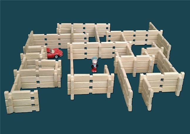 Natural Wooden Building Toy, 86 piece organic wooden block set, educational toy, children's construction toy. $52.00, via Etsy.
