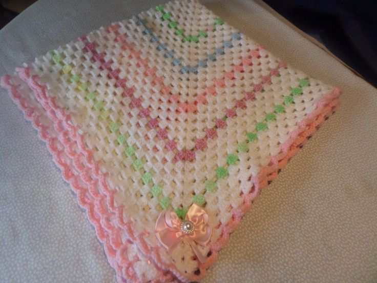 baby blanket, hand crochet wrap, afghan stitch, white and pastels, 36 inches square, large pink bows, pink edging, scalloped edging by MaddisonsRainbow on Etsy
