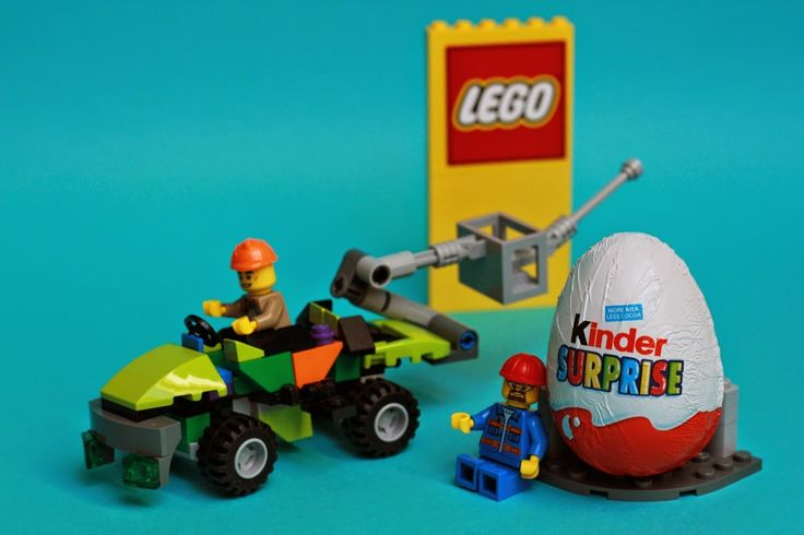Lego car and opening kinder surprise